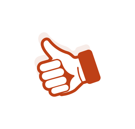 approval icon: Isolated abstract brown color thumb up contour . Human hand with finger up . Approval gesture sign. Positive estimation symbol. Social network like icon. Vector illustration Illustration