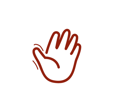 Isolated brown color human palm contour  on the white background. Waving hand outline . Greeting sign. Hello symbol. Give five icon. Gesture vector illustration Illustration