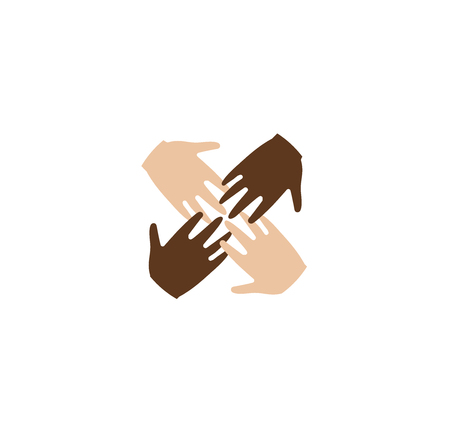 four friends: Isolated abstract four brown and white skin human hands together . Anti racism . International friendship sign. Equal people symbol. Vector illustration