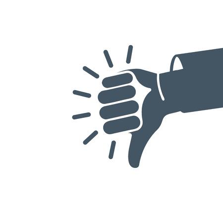 rejection: Isolated abstract grey color thumb down . Human hand negative gesture . Dislike sign. Negative result symbol. Bad quality icon. Rejection button. Deaf people language. Vector illustration Illustration
