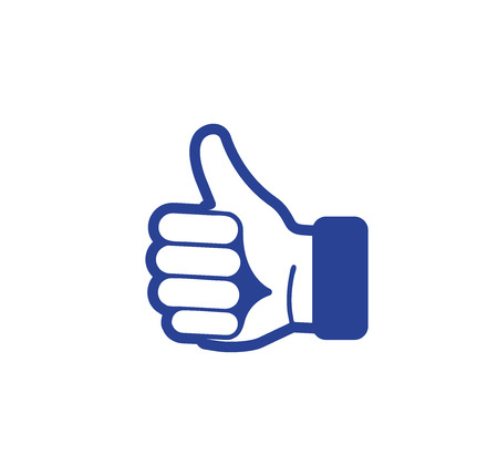 estimation: Isolated abstract blue color thumb up contour . Human hand with finger up logotype. Approval gesture sign. Positive estimation symbol. Social network like icon. Vector illustration