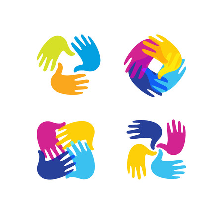Isolated abstract colorful children hands together  set. Kids playroom  collection. Kindergarten sign. Handprints in paint symbol. Art school emblem. Vector illustration Stock Illustratie