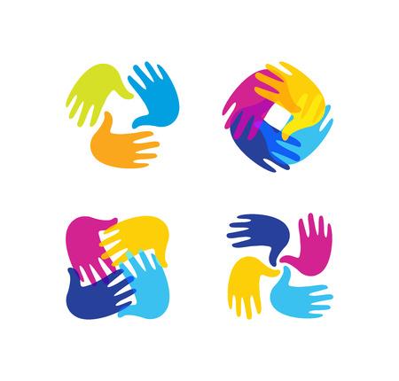 Isolated abstract colorful children hands together  set. Kids playroom  collection. Kindergarten sign. Handprints in paint symbol. Art school emblem. Vector illustration Vettoriali