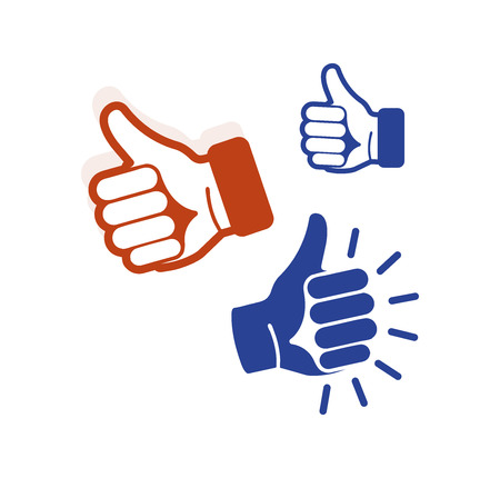 estimation: Isolated abstract blue, brown color thumb up contour  set. Human hand with finger up . Approval gesture sign. Positive estimation symbol. Social network like icon. Vector illustration