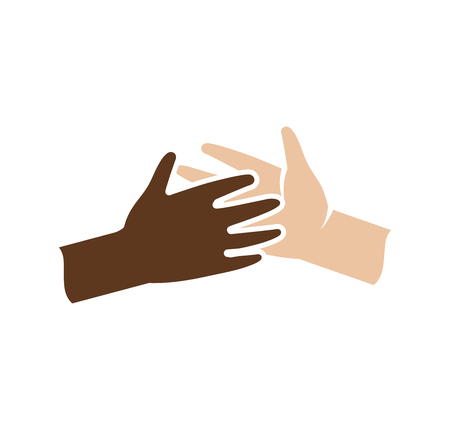 brotherhood: Isolated abstract dark and light skin human hands together . Black and white people friendship . Give five gesture. Interracial help sign. Equal rights symbol. Vector illustration
