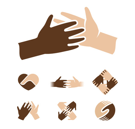 light skin: Isolated abstract dark and light skin human hands together . Black and white people friendship . Give five gesture. Interracial help sign. Equal rights symbol. Vector illustration.