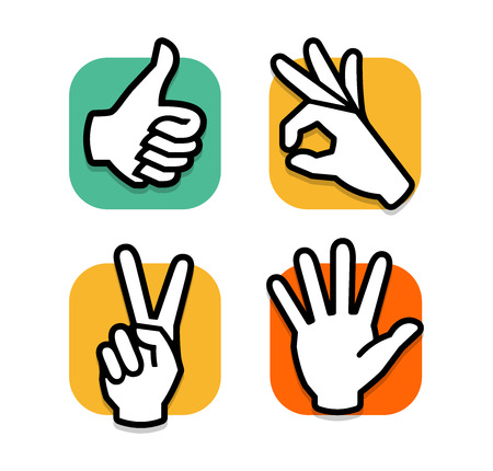 Isolated abstract colorful social network  set. Human hands and fingers .Website buttons collection.Thumb up,ok,peace,give five signs. Like,victory, hello symbol. Vector illustration