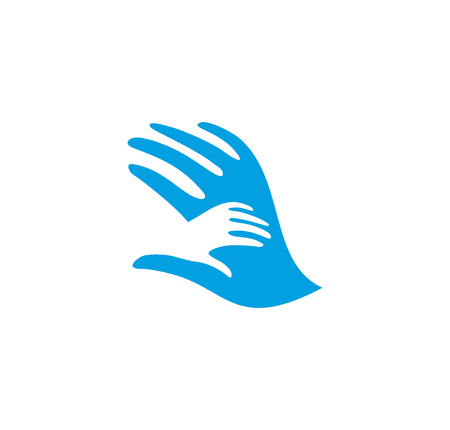 adult care: Isolated abstract blue and white adult and child hands . Negative space family . Parent and kid palms icon. Orphanage sign. Adoption symbol. Father or mothers care vector illustration