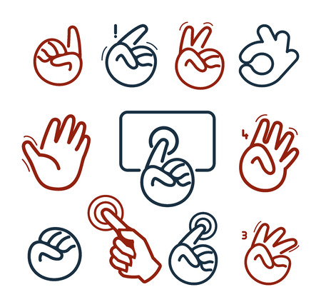 Isolated abstract social network  set. Human hands and fingers .Website buttons collection.Ok,peace,give five,pointing finger,fist signs. Victory, hello symbol. Vector illustration
