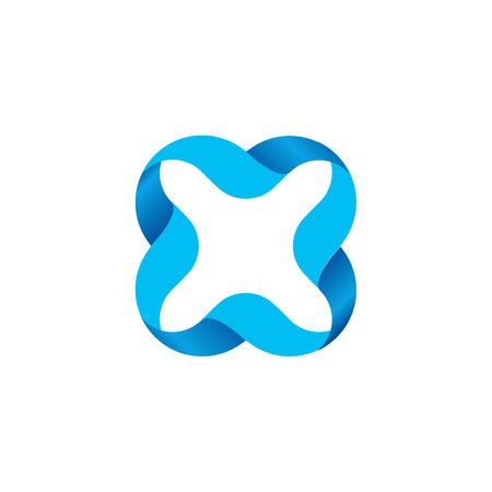 multiplicacion: de color azul aislado esbozó icono de la cruz. Vector ilustración cruz. Signo de multiplicación. Ondulado elemento de líneas. letra del alfabeto x icono