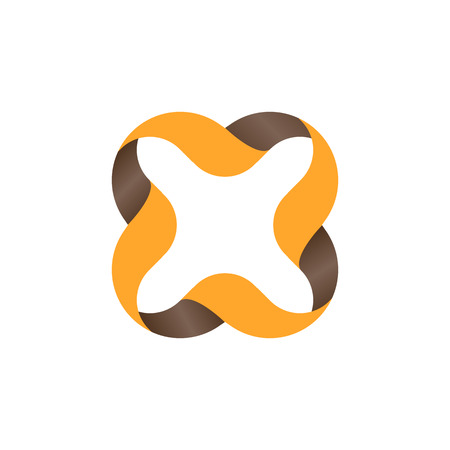 alphabetic: Isolated orange color outlined cross icon. Vector cross illustration. Multiplication sign. Wavy lines element. Alphabetic letter x icon