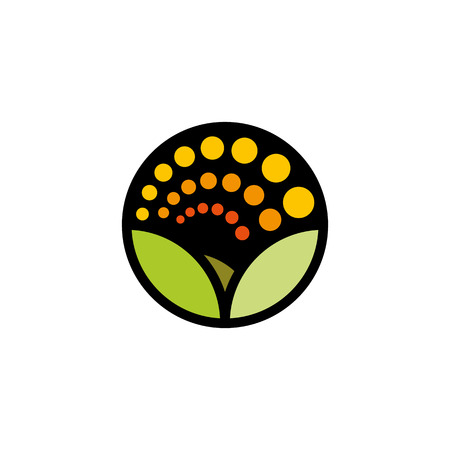 green environment: Isolated cartoon nature landscape with meadow . Summer sunset,sunrise, countryside panorama. Round shape natural environment . Green color leaves and bright flower petals icon Illustration