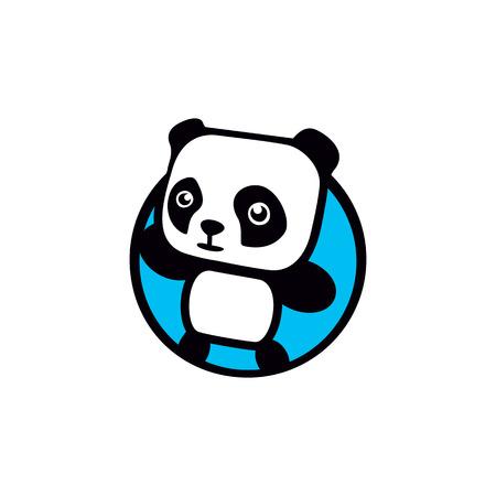 Fun, children, isolated, geek, cute, personalized panda waving paw.Round shape, cartoon,contour stylized .Blue  template.Asian bear,kids toy,element logo. Panda vector illustration Illustration
