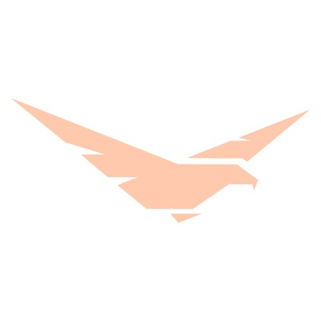 goshawk: Isolated abstract pink color eagle,hawk of falcon silhouette logo. Dangerous hunting bird logotype. Wings icon. Air element. Flight sign. Airlines symbol. Vector bird illustration. Illustration