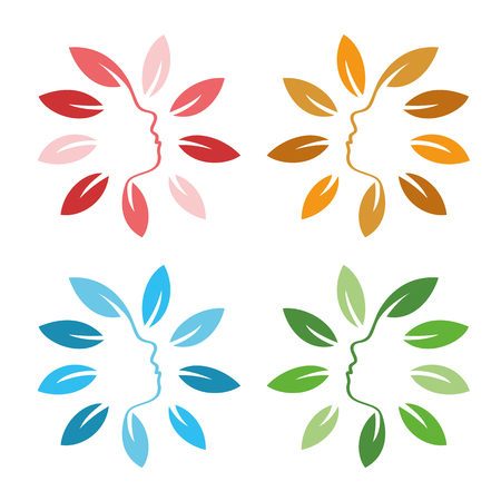 feminize: Isolated abstract colorful floral  set. Round shape flowers with petals  collection. Floral vector illustrations. Woman profile face icons. Female side view signs. Natural elements