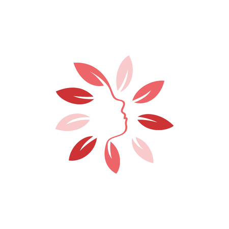 woman side view: Isolated abstract pink color floral . Round shape flowers with petals . Floral vector illustration. Woman profile face icon. Female side view sign. Natural elements.