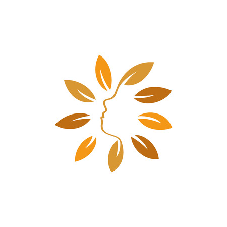 feminize: Isolated abstract orange color floral . Round shape flowers with petals . Floral vector illustration. Woman profile face icon. Female side view sign. Natural elements. Illustration