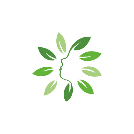 feminize: Isolated abstract green color floral . Round shape flowers with petals . Floral vector illustration. Woman profile face icon. Female side view sign. Natural elements.