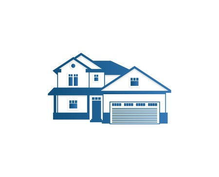 apartment abstract: Isolated abstract blue color house contour . Real estate building . Purchase property business icon. Apartment rent company emblem. Vector house illustration.