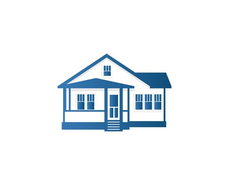 apartment abstract: Isolated abstract blue color house contour =. Real estate building . Purchase property business icon. Apartment rent company emblem. Vector house illustration. Illustration