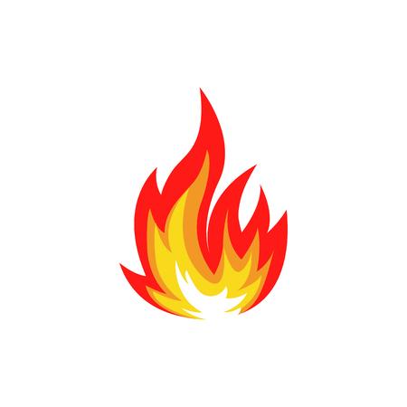 Aislado de la llama de color rojo fuego y naranjas colocados en el fondo blanco. Fogata. símbolo de la comida picante. icono de calor. signo de la energía caliente. Vector ilustración de fuego.