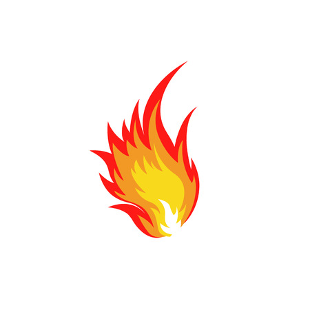 combustion: Isolated abstract red and orange color fire flame  set on white background. Campfire . Spicy food symbol. Heat icon. Hot energy sign. Vector fire illustration.