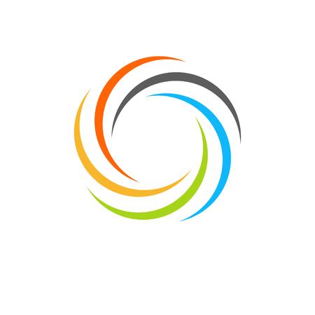 Geïsoleerde abstract kleurrijke ronde zon logo. Ronde vorm regenboog logo. Swirl, tornado en orkaan pictogram. Spining hypnotic spiraal teken. Foto lens symbool. Vector ronde illustratie.