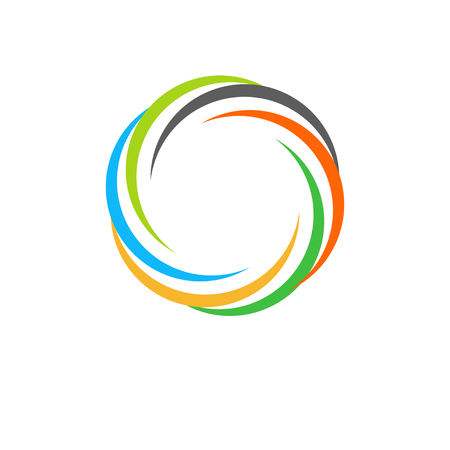 firing: Isolated abstract colorful circular sun logo. Round shape rainbow logotype. Swirl, tornado and hurricane icon. Spining hypnotic spiral sign. Photo lens symbol. Vector round illustration.
