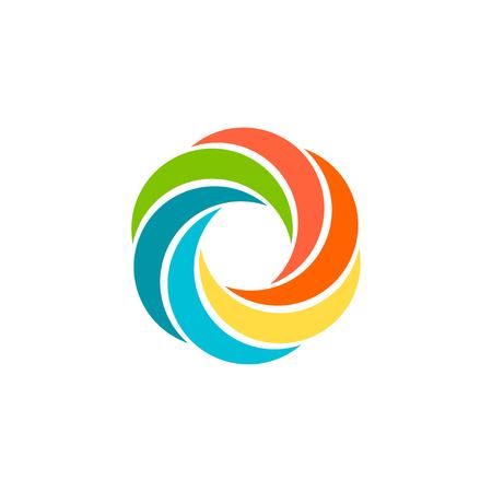 Geïsoleerde abstract kleurrijke ronde zon. Ronde vorm regenboog. Swirl, tornado en orkaan pictogram. Spining hypnotic spiraal teken. Foto lens symbool. Vector ronde illustratie. Vector Illustratie
