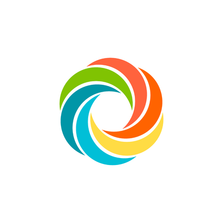 Isolated abstract colorful circular sun . Round shape rainbow . Swirl, tornado and hurricane icon. Spining hypnotic spiral sign. Photo lens symbol. Vector round illustration. Çizim