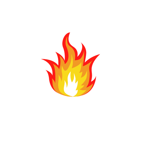 fire flame: Isolated abstract red and orange color fire flame  set on white background. Campfire . Spicy food symbol. Heat icon. Hot energy sign. Vector fire illustration.