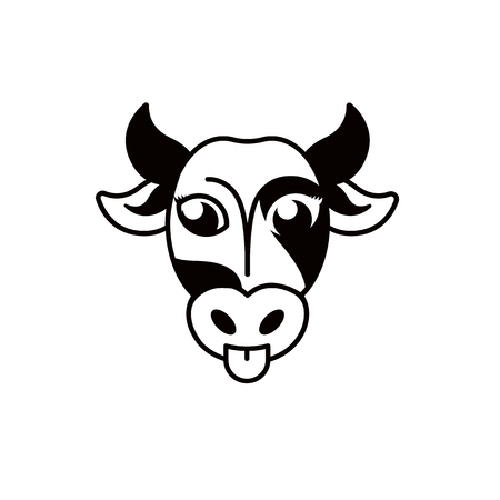 snout: Isolated abstract blck and white cow muzzle . Hoofed animal . Milk symbol. Natural dairy products icon. Vector cow snout illustration. Butchery meat sign. Farm emblem