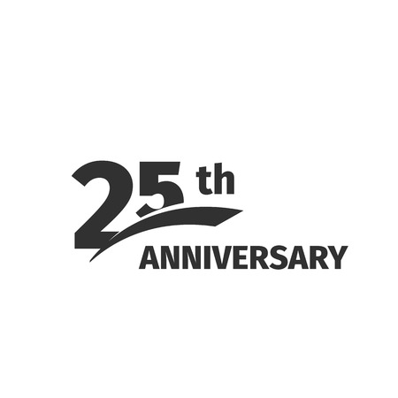 25th: Isolated abstract black 25th anniversary  on white background. 25 number . Twenty-five years jubilee celebration icon. Twenty-fifth birthday emblem. Vector anniversary illustration