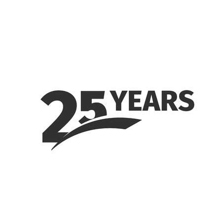 25th: Isolated abstract black 25th anniversary logo on white background. 25 number logotype. Twenty-five years jubilee celebration icon. Twenty-fifth birthday emblem. Vector anniversary illustration