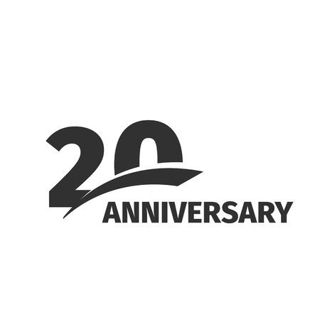 격리 된 추상 검은 색 20 주년 흰색 배경에. 20 번호 로고. 20 년 축제 축 하 아이콘입니다. 20 번째 생일 엠블럼. 벡터 기념일 일러스트 레이션