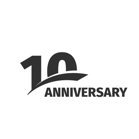 10th: Isolated abstract black 10th anniversary  on white background. 10 number . Ten years jubilee celebration icon. Tenth birthday emblem. Vector anniversary illustration