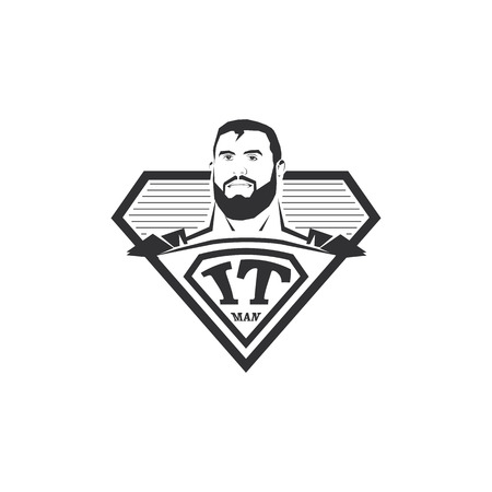 black professional: Isolated abstract black and white IT man . Super computer hero . Comic icon. Professional programmer emblem. Vector IT illustration Illustration