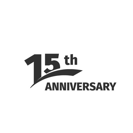 Isolated abstract black 15th anniversary  on white background. 15 number . Fifteen years jubilee celebration icon. Fifteenth birthday emblem. Vector anniversary illustration