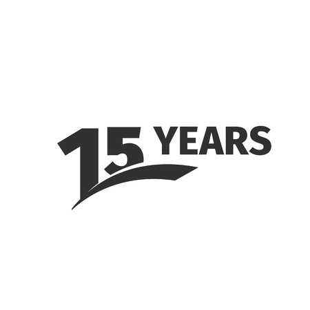 fifteen: Isolated abstract black 15th anniversary  on white background. 15 number . Fifteen years jubilee celebration icon. Fifteenth birthday emblem. Vector anniversary illustration