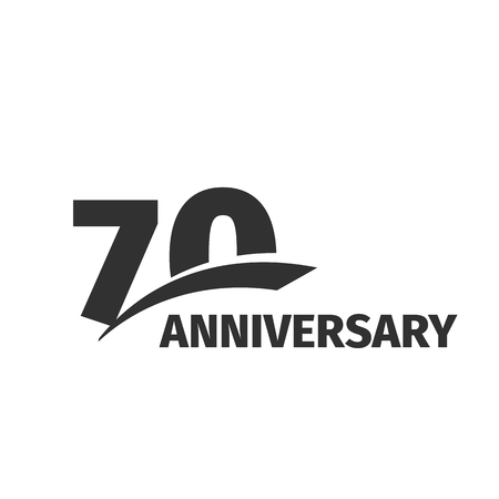 seventieth: Isolated abstract black 70th anniversary  on white background. 70 number . Seventy years jubilee celebration icon. Seventieth birthday emblem. Vector anniversary illustration