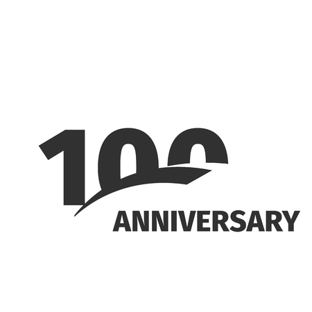 onehundred: Isolated abstract black 100th anniversary  on white background. 100 number . One hundred years jubilee celebration icon. One-hundredth birthday emblem. Vector anniversary illustration