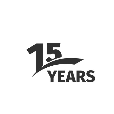 fifteenth: Isolated abstract black 15th anniversary  on white background. 15 number . Fifteen years jubilee celebration icon. Fifteenth birthday emblem. Vector anniversary illustration