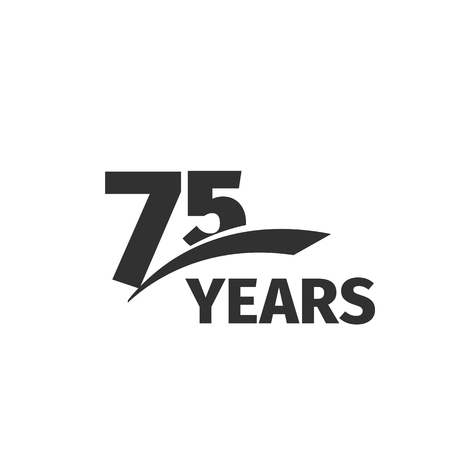 selebration: Isolated abstract black 75th anniversary  on white background. 75 number .Seventy -five years jubilee celebration icon. Seventy-fifth birthday emblem. Vector anniversary illustration
