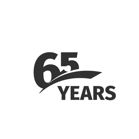 65th: Isolated abstract black 65th anniversary  on white background. 65 number . Sixty -five years jubilee celebration icon. Sixty-fifth birthday emblem. Vector anniversary illustration