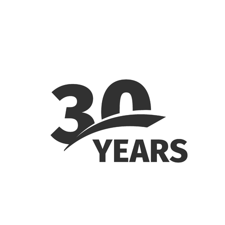 30th: Isolated abstract black 30th anniversary  on white background. 30 number . Thirty years jubilee celebration icon. Thirtieth birthday emblem. Vector anniversary illustration Illustration