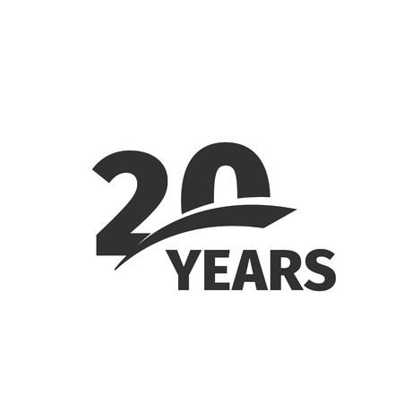 20th: Isolated abstract black 20th anniversary  on white background. 20 number . Twenty years jubilee celebration icon. Twentieth birthday emblem. Vector anniversary illustration