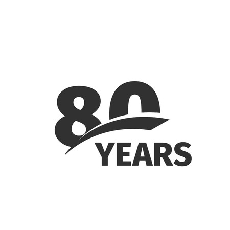 selebration: Isolated abstract black 80th anniversary  on white background. 80 number . Eighty years jubilee celebration icon. Eightieth birthday emblem. Vector anniversary illustration