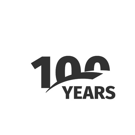 Isolated abstract black 100th anniversary  on white background. 100 number . One hundred years jubilee celebration icon. One-hundredth birthday emblem. Vector anniversary illustration