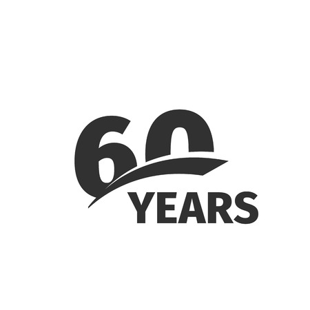 Isolated abstract black 60th anniversary  white background. 60 number . Sixty years jubilee celebration icon. Sixtieth birthday emblem. Vector anniversary illustration