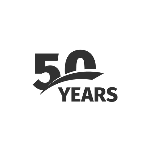 50 number: Isolated abstract black 50th anniversary  on white background. 50 number . Fifty years jubilee celebration icon. Fiftieth birthday emblem. Vector anniversary illustration
